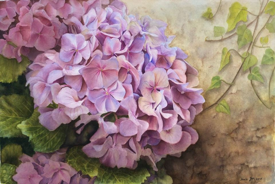 960x642 Realistic Hydrangea With Ivy Watercolor Amp Oil Paintings Of Roses