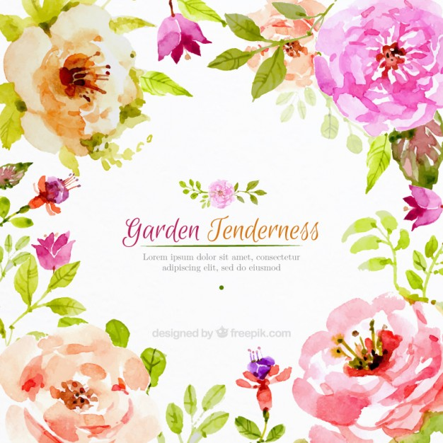626x626 Realistic Watercolor Flowers Background Vector Free Download