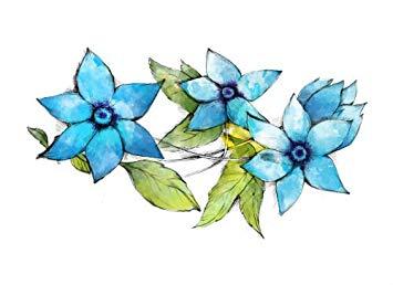 355x258 Blue Watercolor Flower Decor Temporary Tattoo