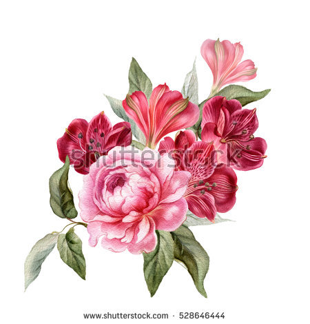450x470 Wedding Flower Pictures Photos Bouquet Peony Watercolor Realistic