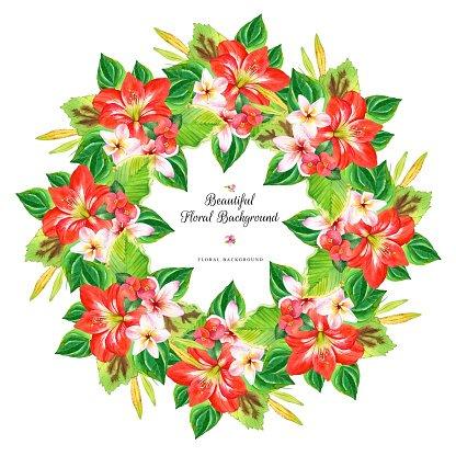 416x416 Hawaiian Wreath With Realistic Watercolor Premium Clipart