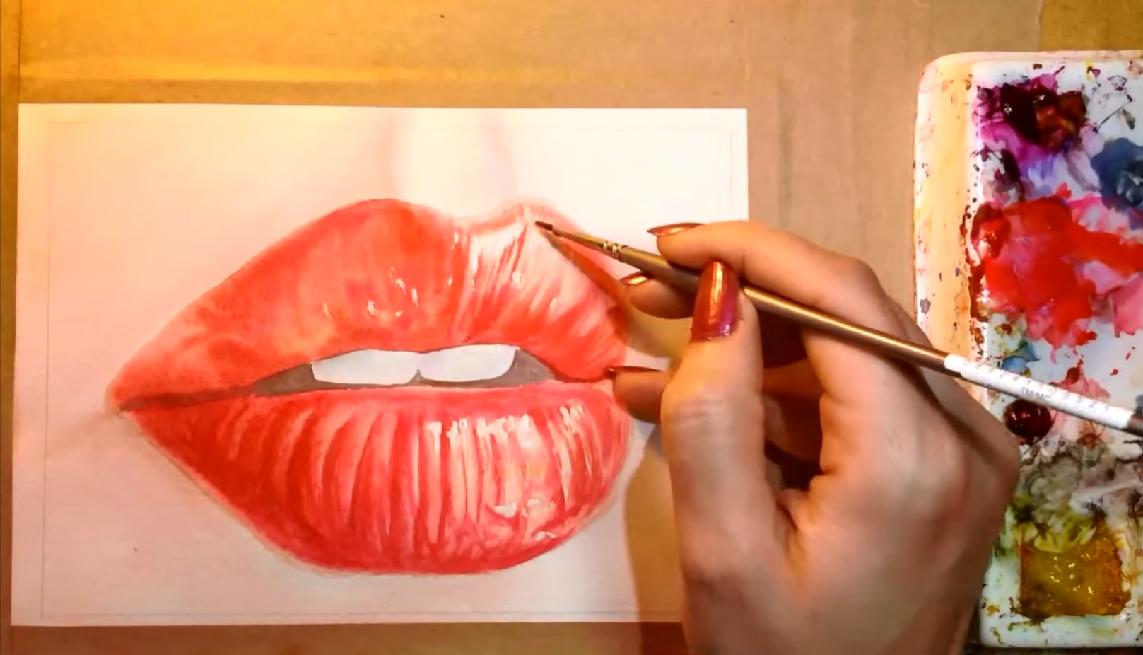1617x926 Watercolor Techniques For Painting Hyper Realistic Lips Step By Step