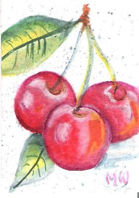 281x400 Aceo ~~cheery Cherries~ Watercolor Painting Fruit Red Green