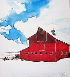 Red Barn Watercolor