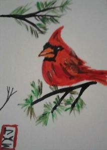 213x300 Red Cardinal In Evergreen Tree Aceo Original Watercolor Painting