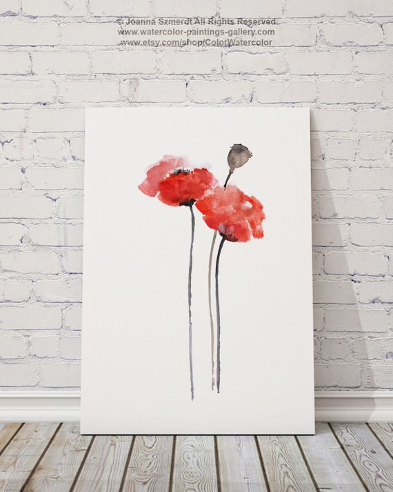 570x713 Red Poppy Watercolor Wall Art Print Floral Wall Art Home Etsy