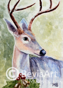 215x300 Aceo Original Watercolor Painting Reindeer With Christmas Ornament