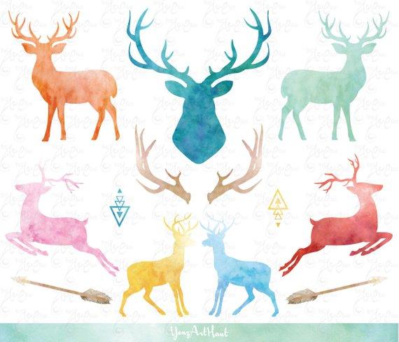 570x488 Watercolor Deer Watercolor Reindeerpack, Silhouettes Deer