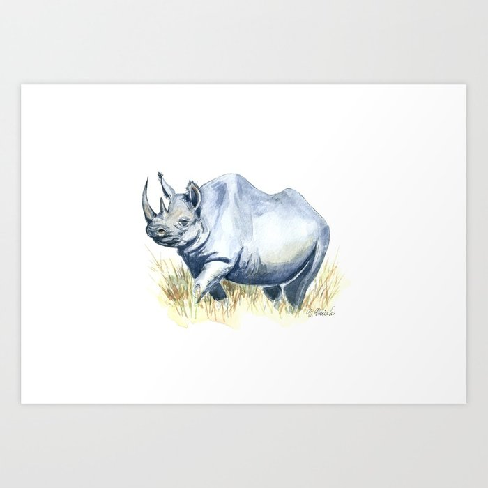 700x700 Black Rhino Watercolor Painting Art Print By Nudovenko Society6