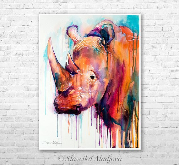 570x524 Colorful Rhino Watercolor Painting Print By Slaveika Aladjova Etsy