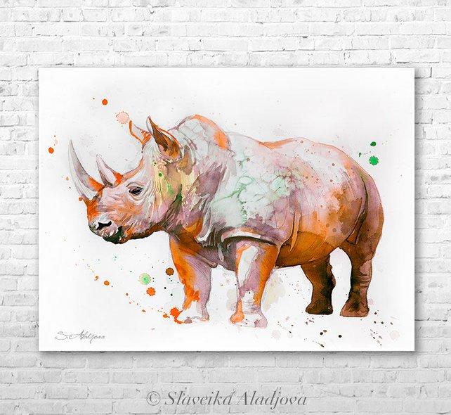 642x590 Rhino 3 Watercolor Painting Print By Slaveika Aladjova Art Etsy