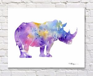 300x245 Rhino Abstract Watercolor Painting Rhinoceros Art Print By Artist