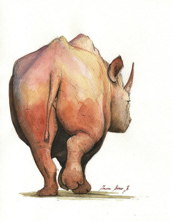 600x771 Rhino Back Art Print By Juan Bosco