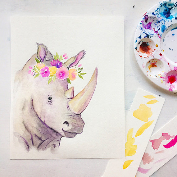 570x570 Rhino Watercolor
