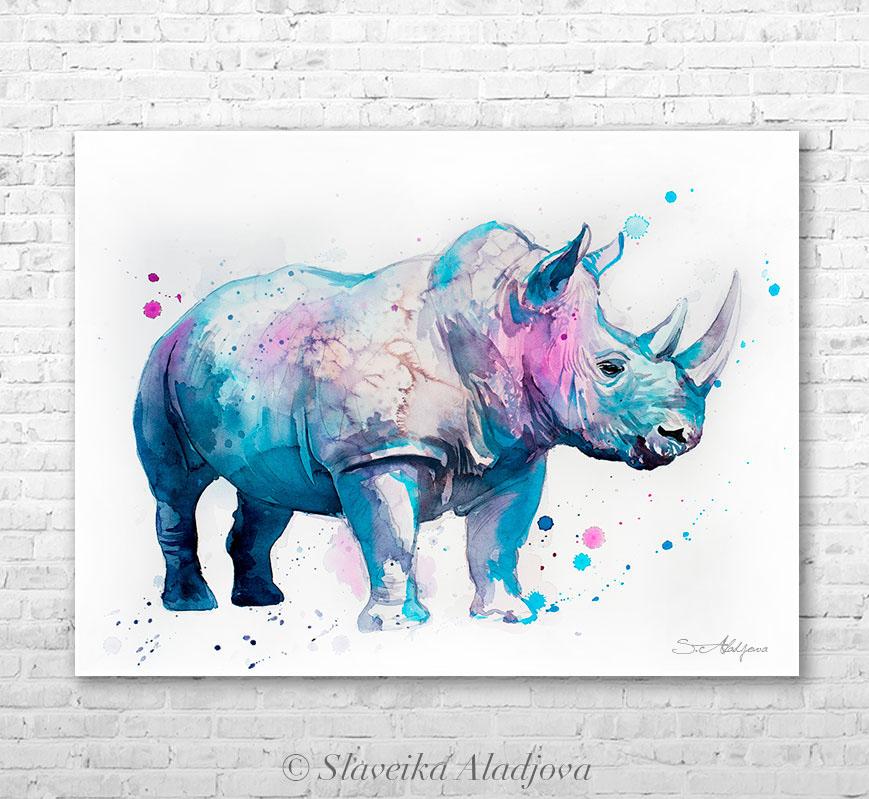 869x799 Rhino Watercolor Painting By Slaveika Aladjova On Behance