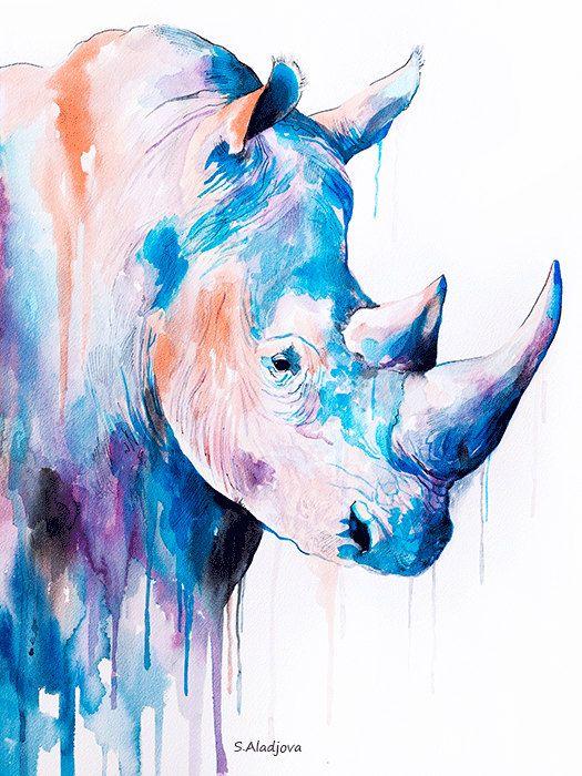525x700 Rhino Watercolor Painting Print By Slaveika Aladjova, Art, Animal