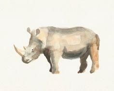 236x188 Rhinoceros Painting Print Of Watercolor By Louisedemasi On Etsy