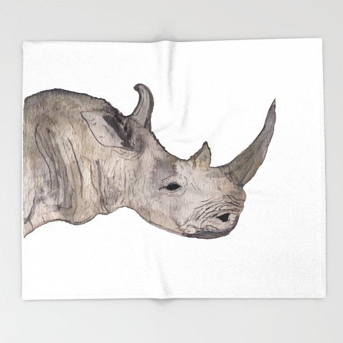 700x700 Watercolor Rhino Throw Blanket By Craftymamadurban Society6