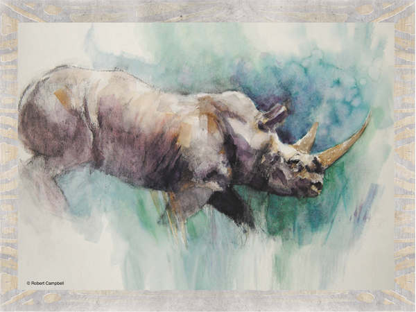 600x450 Watercolor White Rhino Mouse Pad Unleashed Rocks