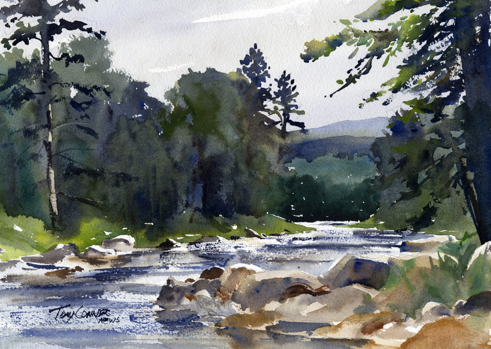 970x690 West River Near South Londonderry, Vermont Watercolor