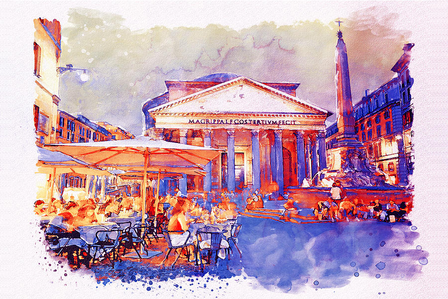 900x600 The Pantheon Rome Watercolor Streetscape Mixed Media By Marian Voicu
