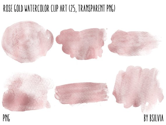 570x428 Rose Gold Watercolor Clip Art Transparent Png Rose Gold Clip Etsy