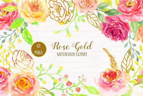 599x403 Watercolor Rose Gold, Pink, Peach, Gold Rose, Rose Frame