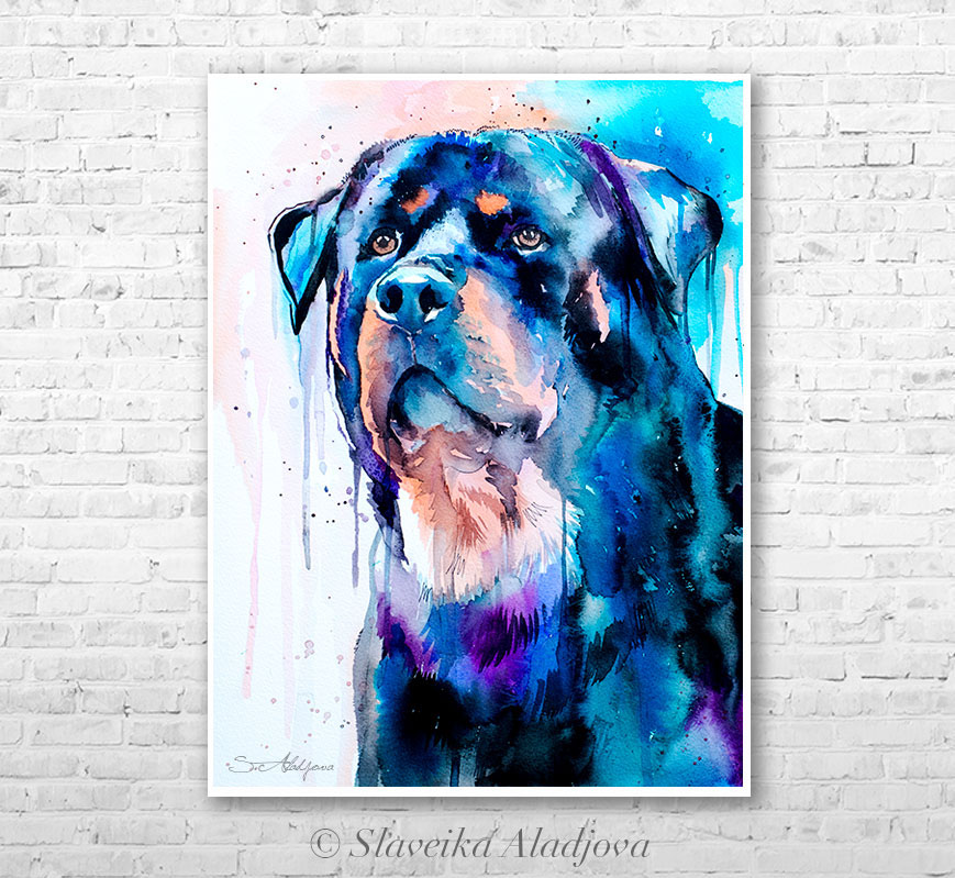 869x799 Rottweiler Watercolor Painting By Slaveika Aladjova On Behance