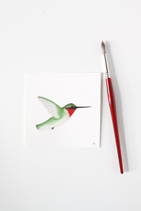 570x855 Watercolor Hummingbird Male Ruby Throated Original Painting Anne