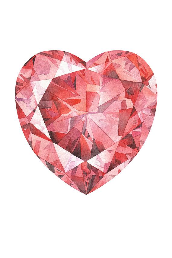 570x855 Red Ruby Print, Heart Print, Wall Art Print, Birthstone Poster