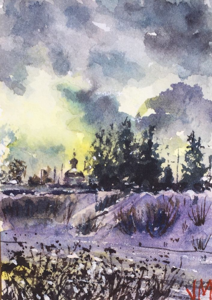 706x1000 Aceo Art 2.12 X 3.12 Original Watercolor Painting Russian