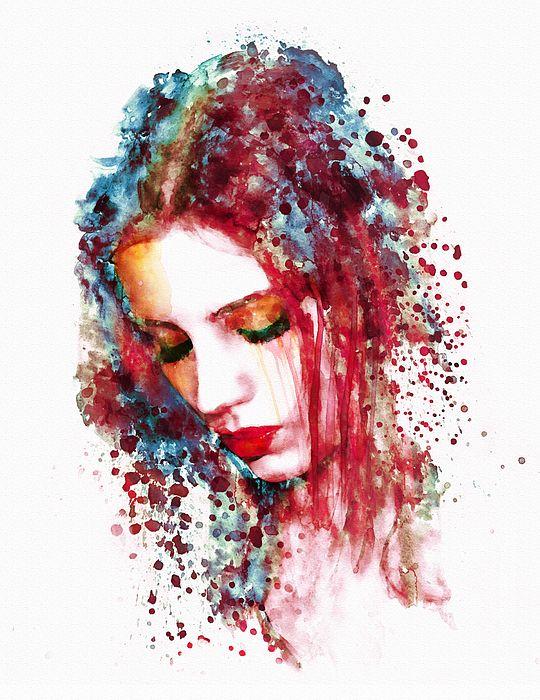 540x700 Sad Woman~watercolor Portrait Of A Sad Woman By Marian Voicu
