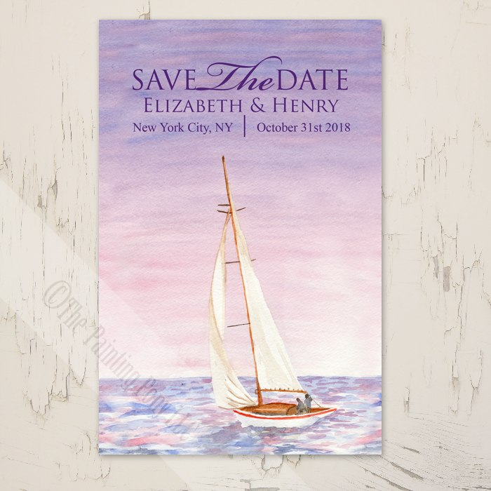 700x700 Sail Boat Watercolor Nautical Wedding Save The Date Postcards (25