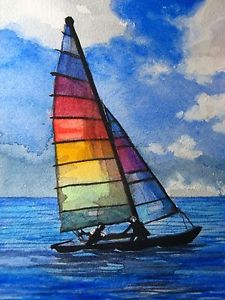 225x300 Watercolor Painting Ocean Sailboat Rainbow Sail Sport Aceo Art