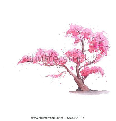 450x470 Cherry Blossom Tree Painting Cherry Blossom Tree Watercolor