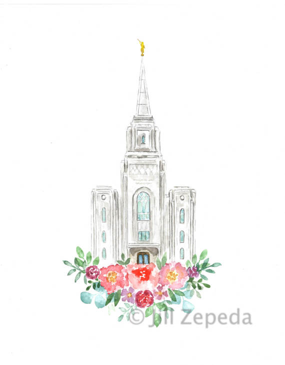 570x730 Lds Temple Watercolor (Brigham City), Brigham City Utah Lds Temple