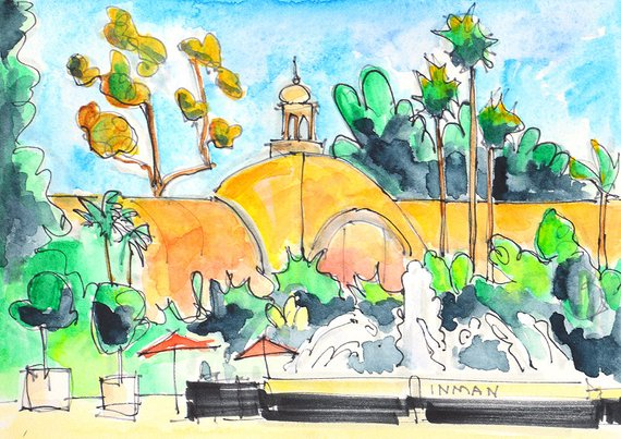 570x403 Balboa Park Botanical Building San Diego Watercolor Painting Etsy