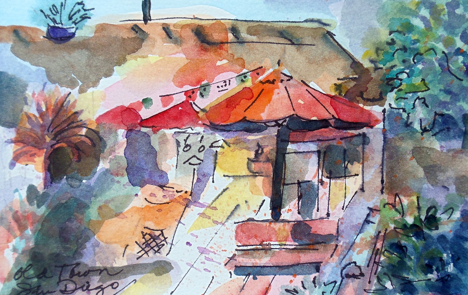1600x1010 Minnie Valero Balboa Park Iii, San Diego, Watercolor