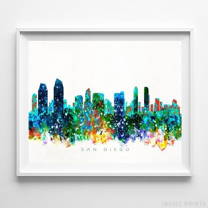 699x699 San Diego, California Skyline Watercolor Print San Diego