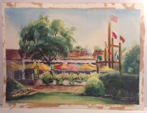 300x231 Bazaar Del Mundo 1976 Old Town San Diego Watercolor Signed Listed