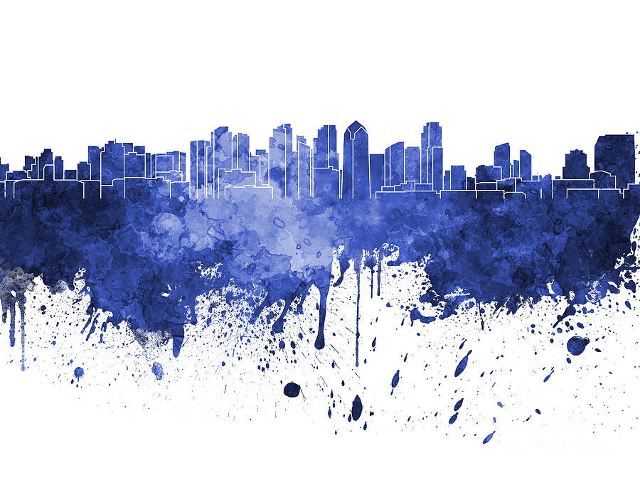 900x675 San Diego Skyline In Blue Watercolor On White Background Painting