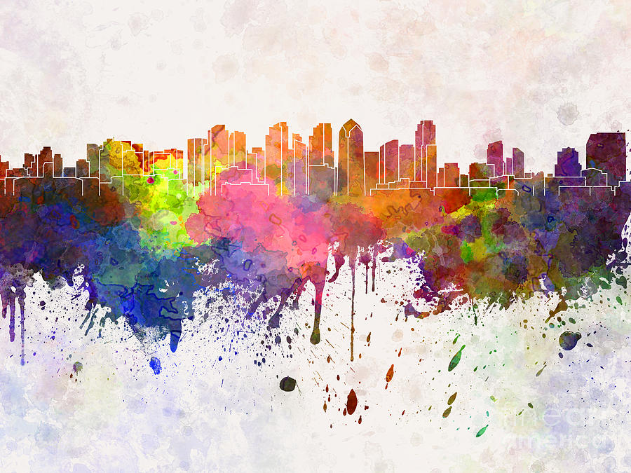 900x675 San Diego Skyline In Watercolor Background Painting By Pablo Romero
