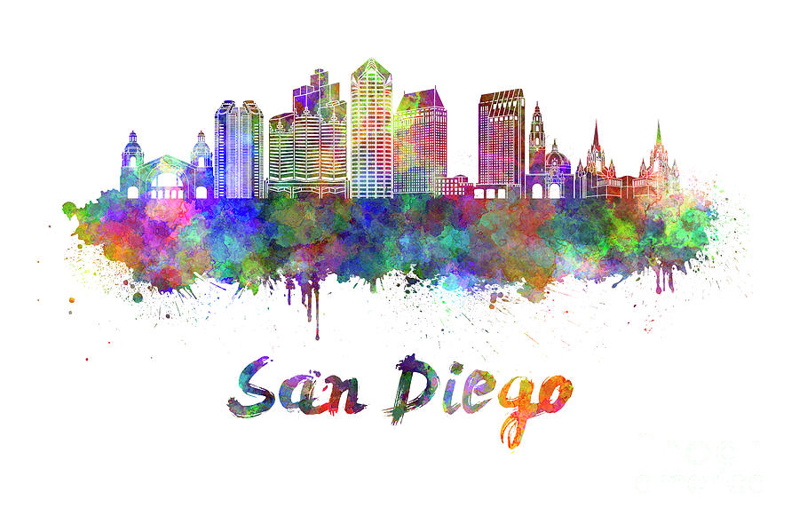 900x590 San Diego Skyline In Watercolor Painting By Pablo Romero