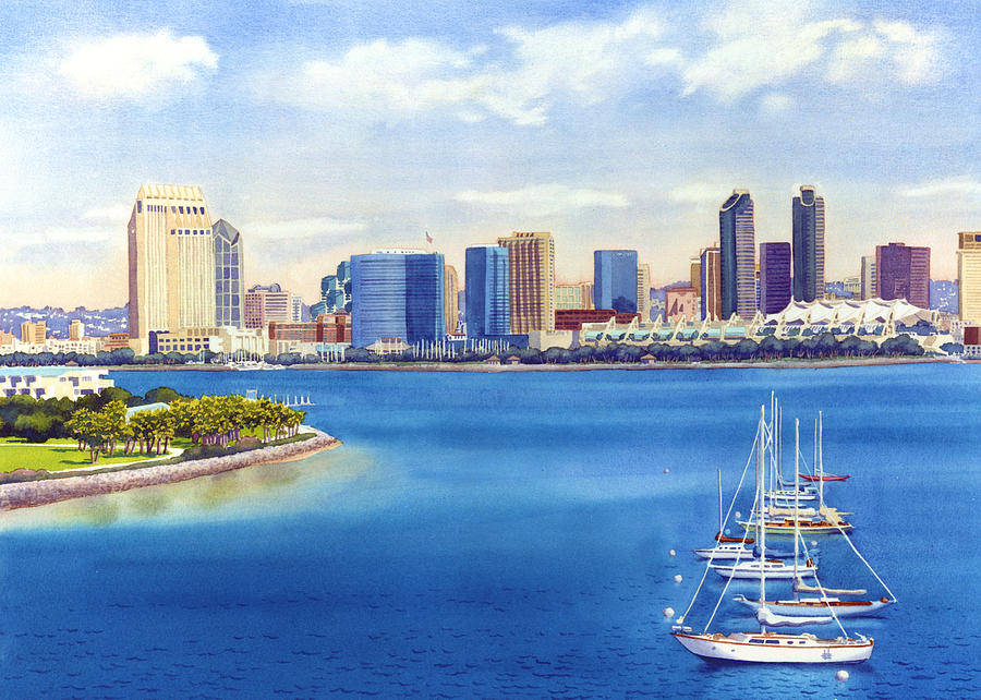 900x642 San Diego Skyline With Meridien Painting By Mary Helmreich