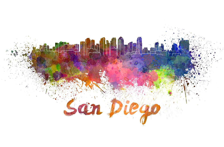 1500x984 San Diego Skyline Watercolor Canvas, San Diego Canvas, Sab Diego