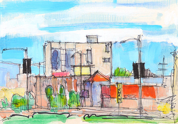 570x398 Hillcrest Street View San Diego Watercolor Painting Watercolors