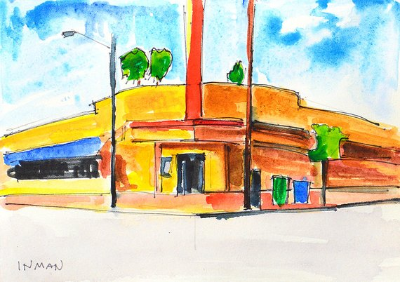 570x402 Hillcrest The Brass Rail San Diego Watercolor Painting Etsy