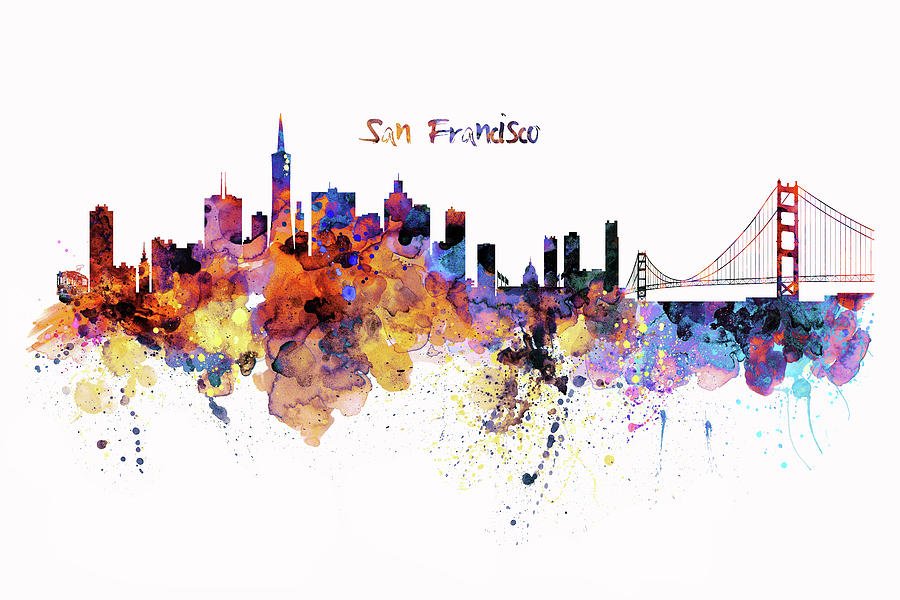 900x600 San Francisco Watercolor Skyline Mixed Media By Marian Voicu