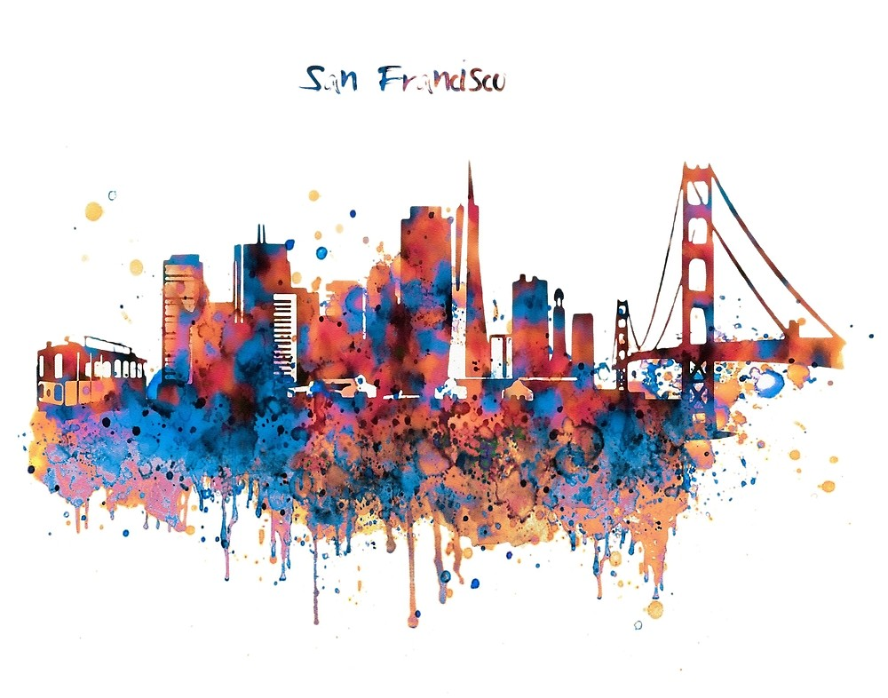 1000x786 San Francisco Watercolor Skyline By Marian Voicu Redbubble