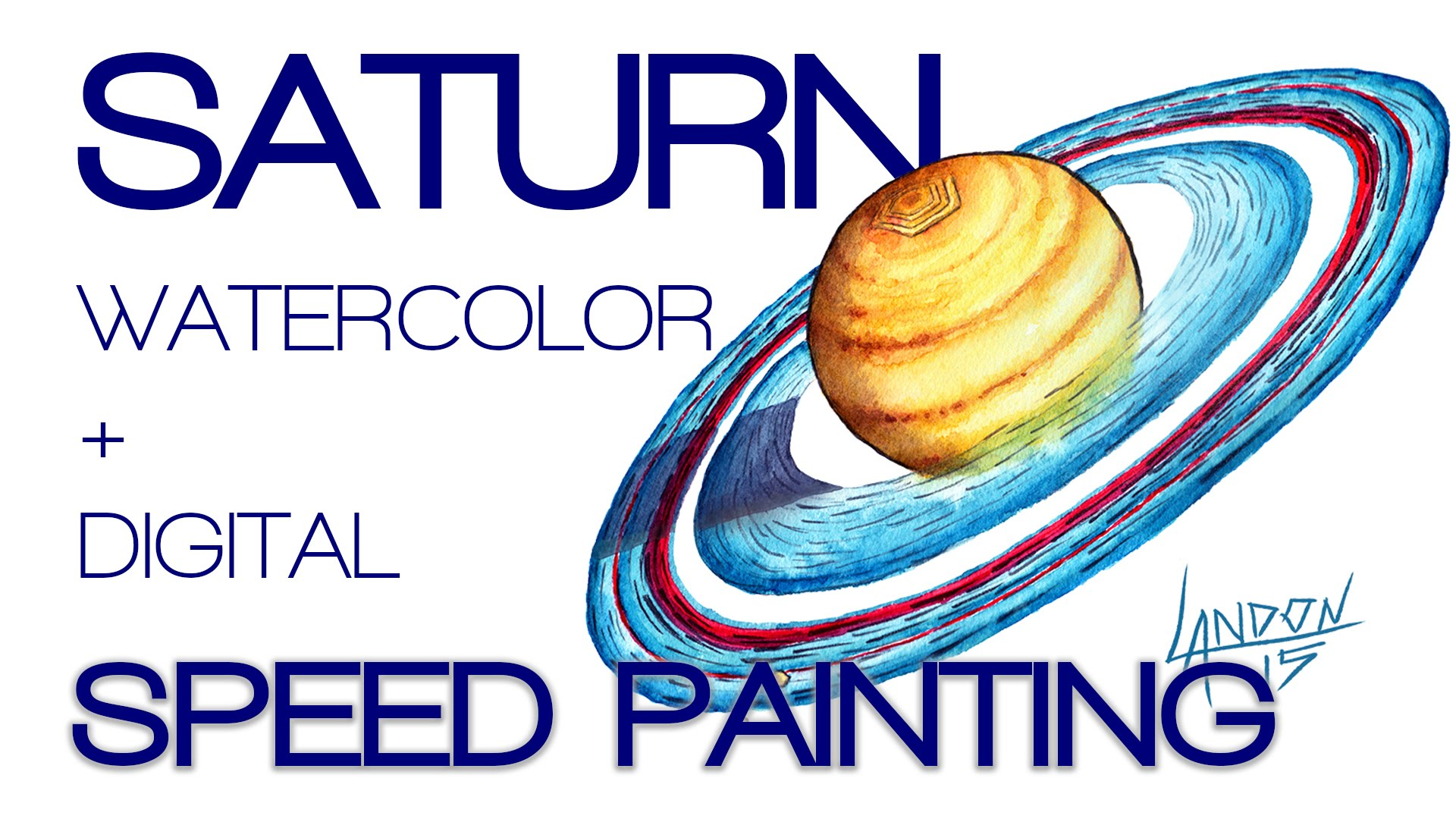 1920x1080 Saturn Watercolor Speed Painting